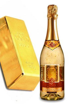 Goldbarren Geschenkset mit echtem Blattgoldsekt